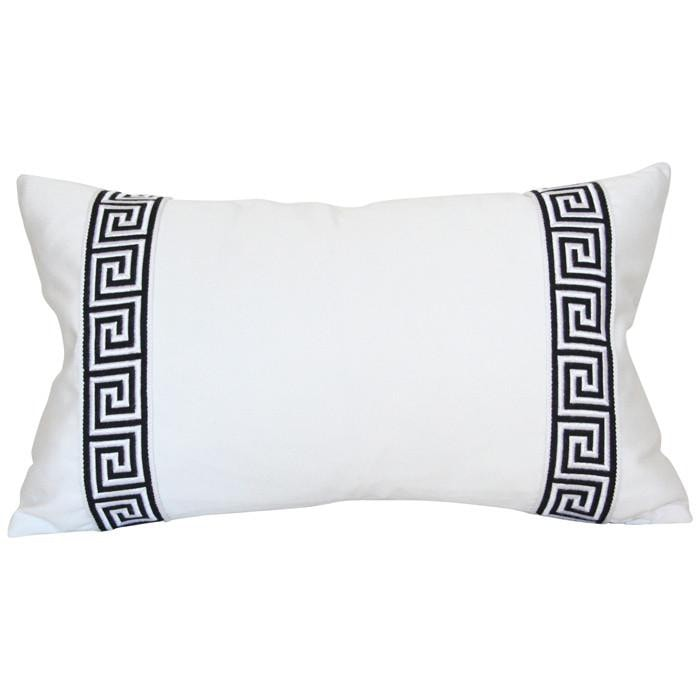 White with Black Greek Key Trim lumbar Custom Designer Pillow | Arianna Belle