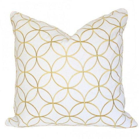 Sungold Lattice - embroidered golden yellow circular lattice pattern designer pillow