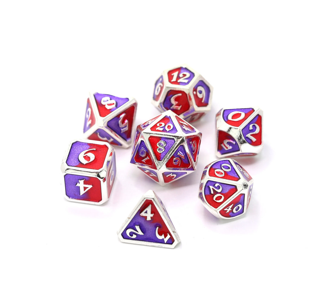 Metal RPG Dice Red Purple Spellbinder