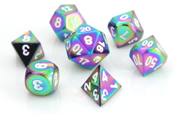 Metal RPG Dice Rainbow with White