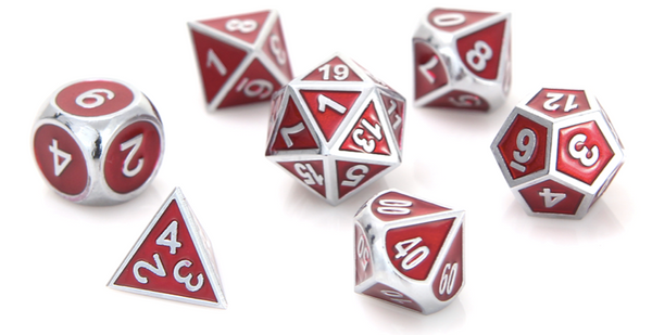Metal RPG Dice Silver Ruby