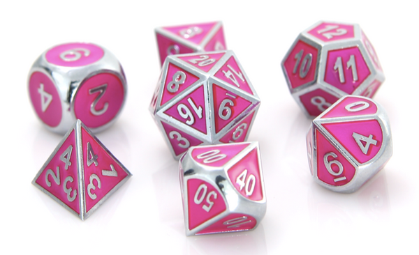 Metal RPG Dice Silver Tourmaline (Pink)