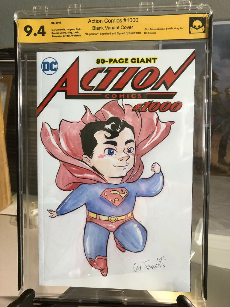 Action Comics 1000 9.4 NM Sketched Signed by Cat Farris