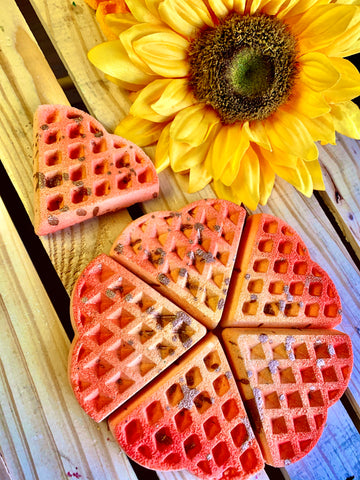 Sparkling Peach Heart Shaped Waffle Bath Bomb