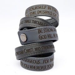 Engraved Italian Leather Scripture Bracelets