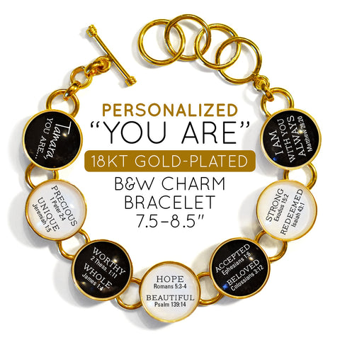 """18k gold-plated """"You Are"""" Christian Affirmations bracelet"""
