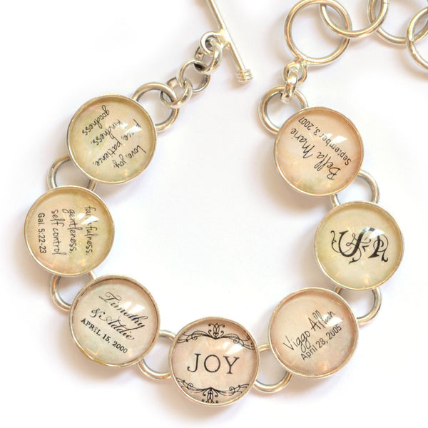 Silver-plated Bible Verse charm bracelet