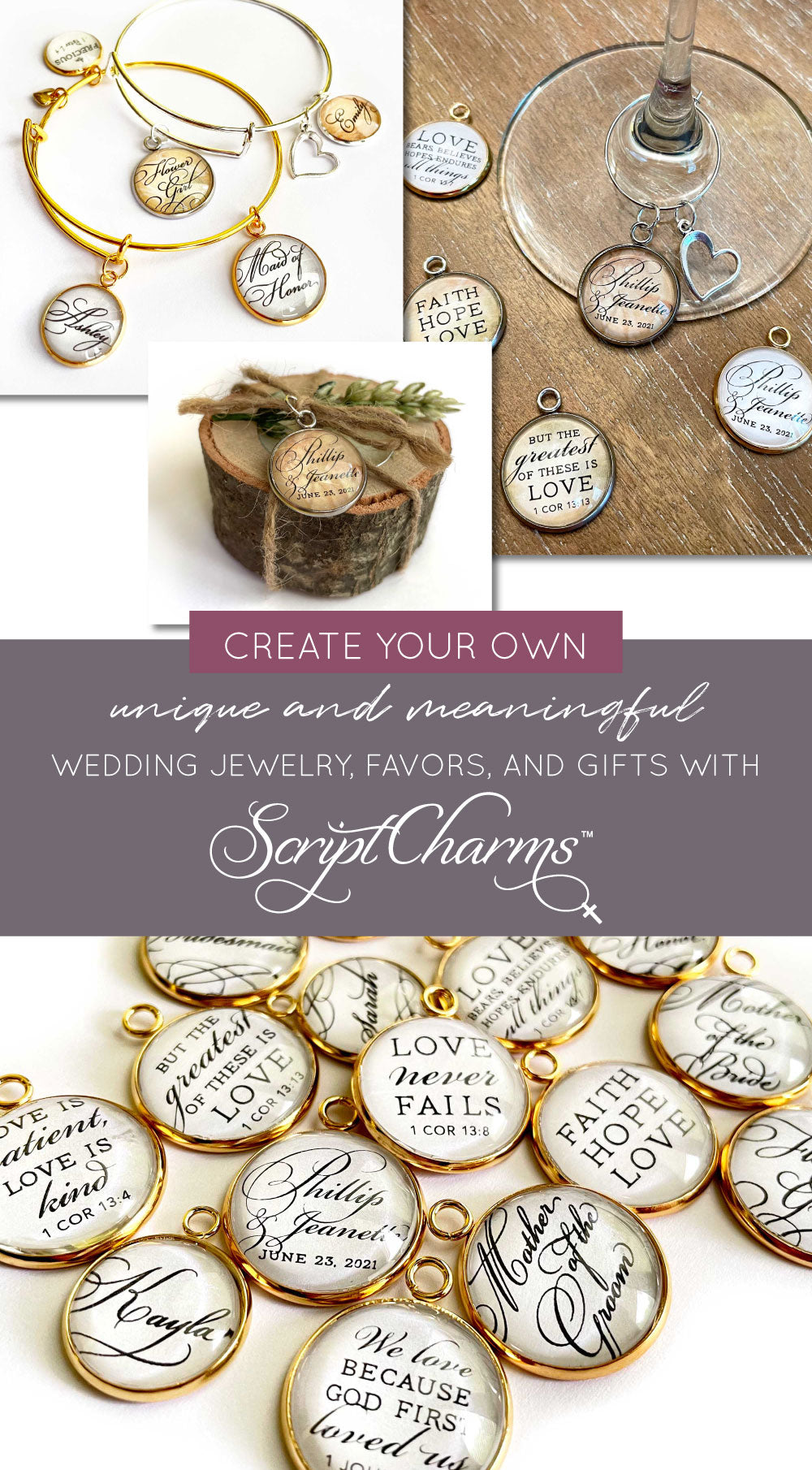 Create your own unique and meaningful wedding jewelry, favors, and gifts with ScriptCharms charms
