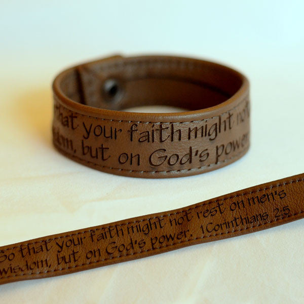 Faith… on God's Power, 1 Corinthians 2:5 - Brown Engraved Italian Leather Bracelet