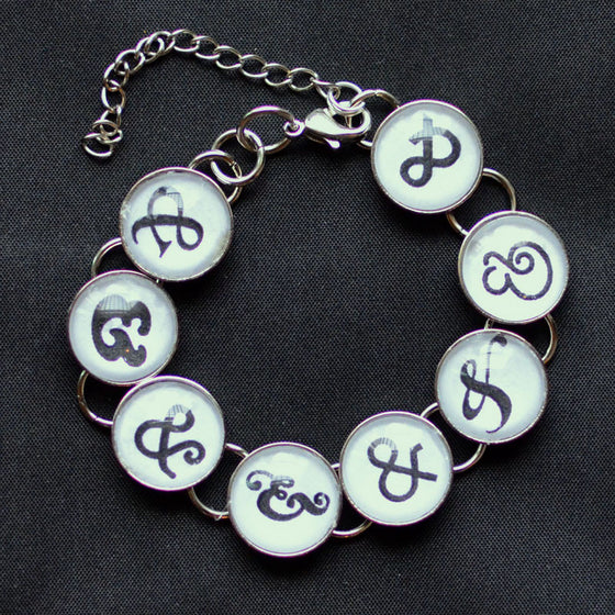 I Love Ampersands & Typography - Glass Charm Bracelet