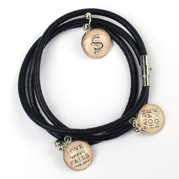 Personalized, Love Never Fails, Faith Hope Love, Black Leather Wrap Bracelet with 3 Dangling Charms
