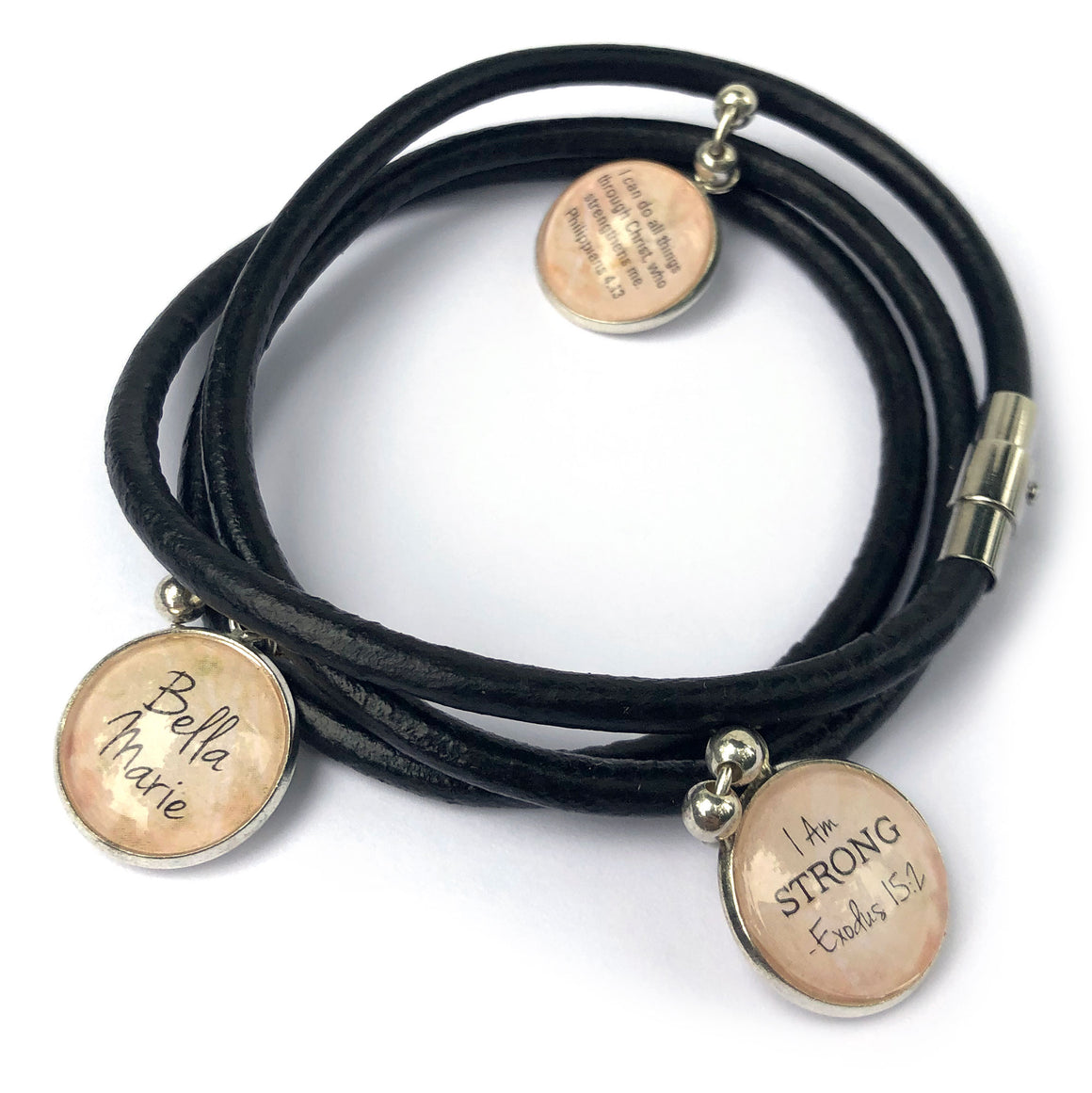 Personalized, I Am Strong, Philippians 4:13, Black Leather Wrap Bracelet with 3 Dangling Charms