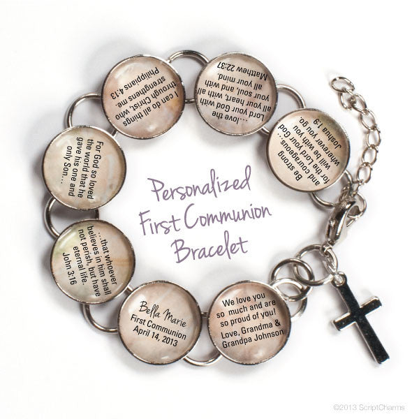 Personalized First Communion Bible Verse Charm Bracelet