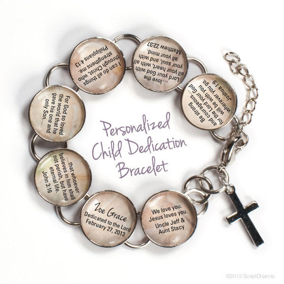 Personalized Child Dedication Bible Verse Charm Bracelet