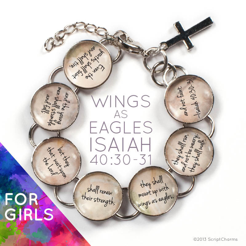 Wings as Eagles Scripture - Isaiah 40:30-31 Glass Charm Bible Verse Bracelet