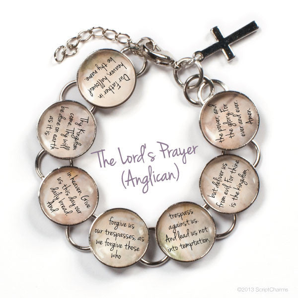 The Lord's Prayer Glass Charm Bible Verse Bracelet - Anglican