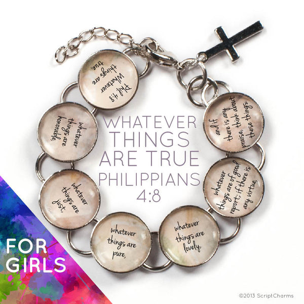 Whatever Things are True Scripture - Philippians 4:8 Glass Charm Bible Verse Bracelet