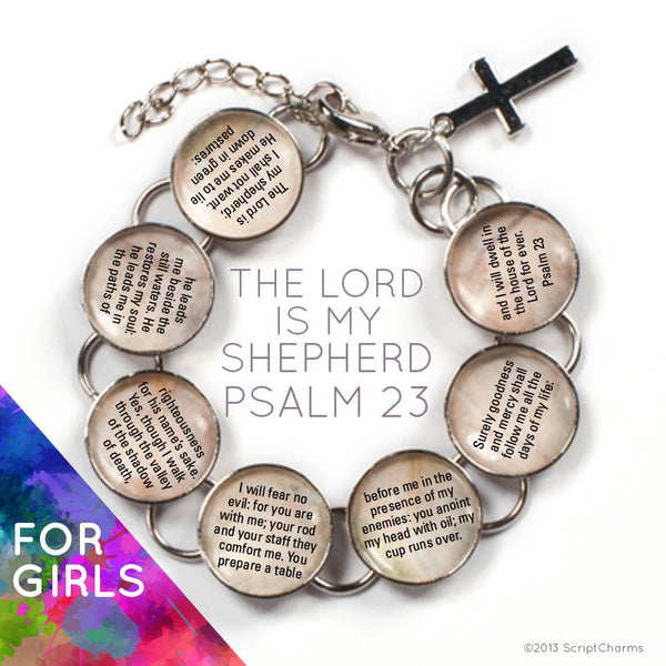 The Lord is My Shepherd Scripture - Psalm 23 Glass Charm Bible Verse Bracelet