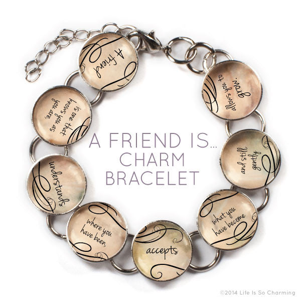 A Friend Is - Glass Charm Bracelet with Heart Charm