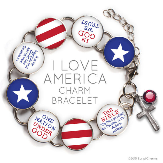 I Love America Glass Charm Bible Verse Bracelet with Swarovski Rhinestone