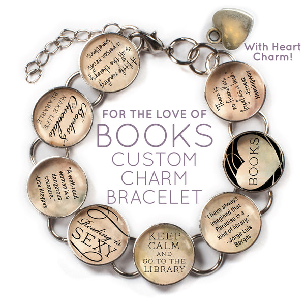 I Love Books - Custom Glass Charm Bracelet with Heart Charm