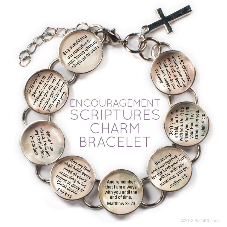 Encouragement Scriptures Glass Charm Bible Verse Bracelet