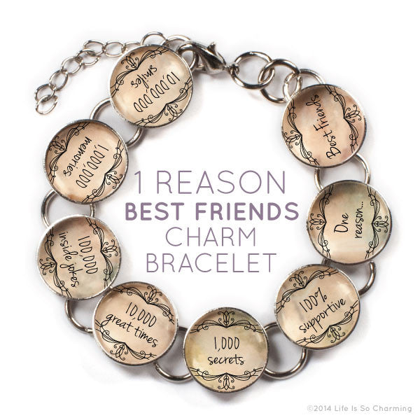 One Reason, Best Friends - Friendship Charm Bracelet with Heart Charm