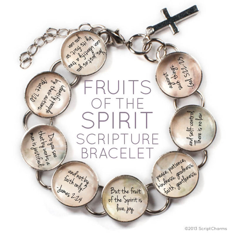 Fruits of the Spirit Glass Charm Bible Verse Bracelet