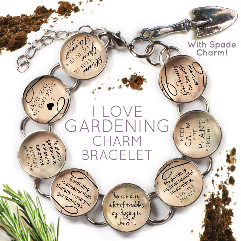 I Love Gardening - Glass Charm Bracelet with Garden Spade Charm