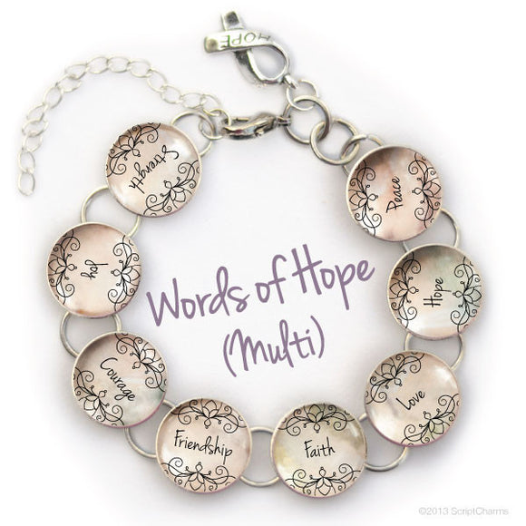 Strength, Joy, Courage, Friendship, Faith, Love, Hope, Peace - Glass Charm Bracelet, Pink or Neutral