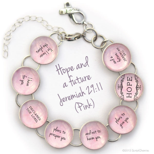 Hope and a Future, Jeremiah 29:11 - Glass Charm Bible Verse Bracelet, Pink or Neutral