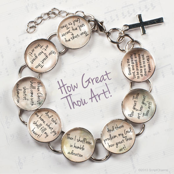 How Great Thou Art Hymn & Scripture Glass Charm Bracelet