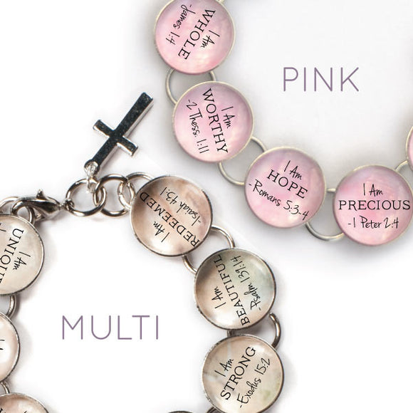 I Am - Scripture Glass Charm Bible Verse Bracelet