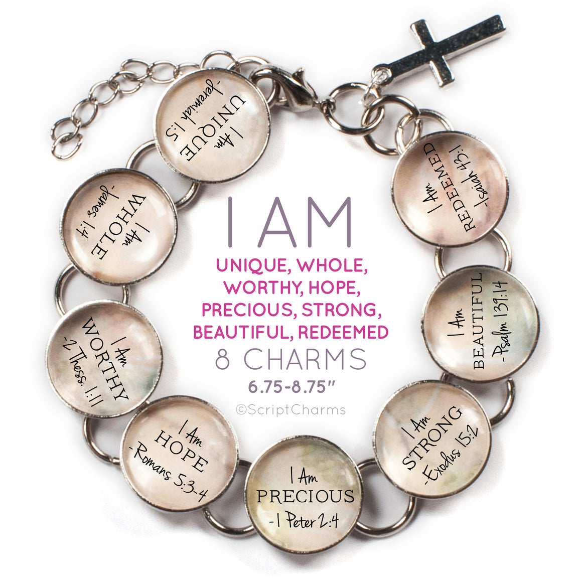 I AM Unique, Whole, Worthy, Strong, Beautiful – Christian Affirmations Scripture Charm Bracelet