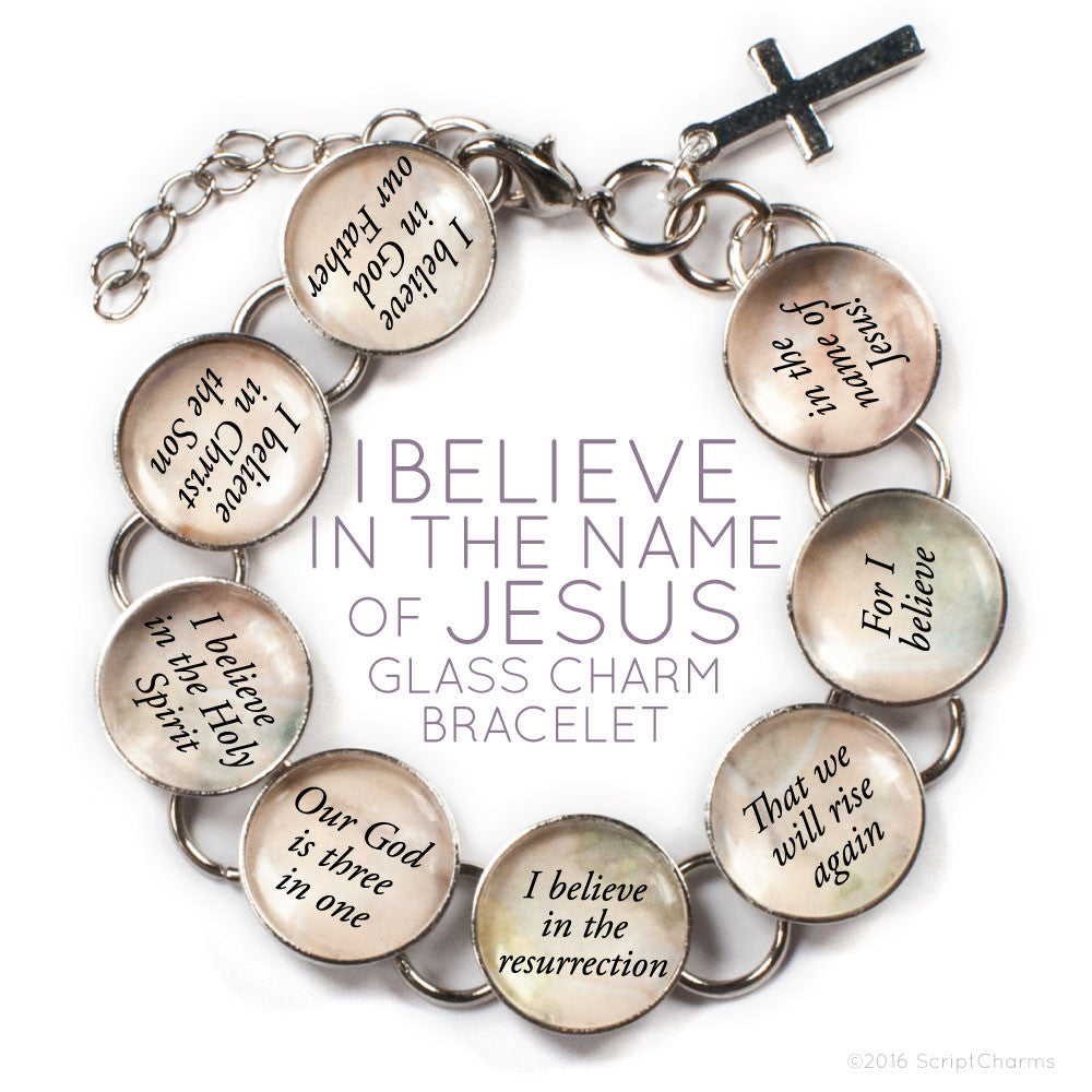 I Believe In the Name of Jesus – Apostle's Creed Glass Charm Bracelet