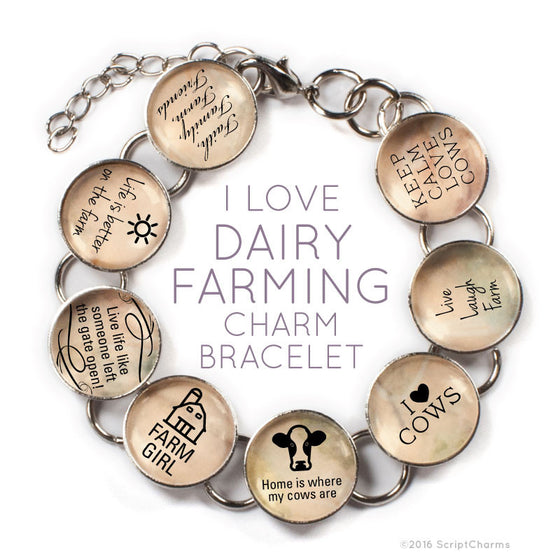 I Love Dairy Farming - Cow Glass Charm Bracelet with Heart Charm