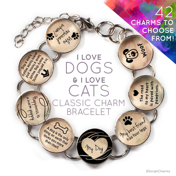 I Love Dogs and I Love Cats - Custom Glass Charm Bracelet with Paw Print Charm