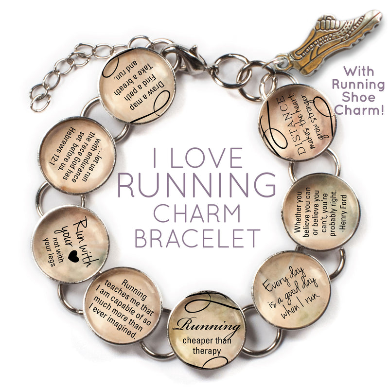I Love Running - Glass Charm Bracelet with Running Shoe Charm