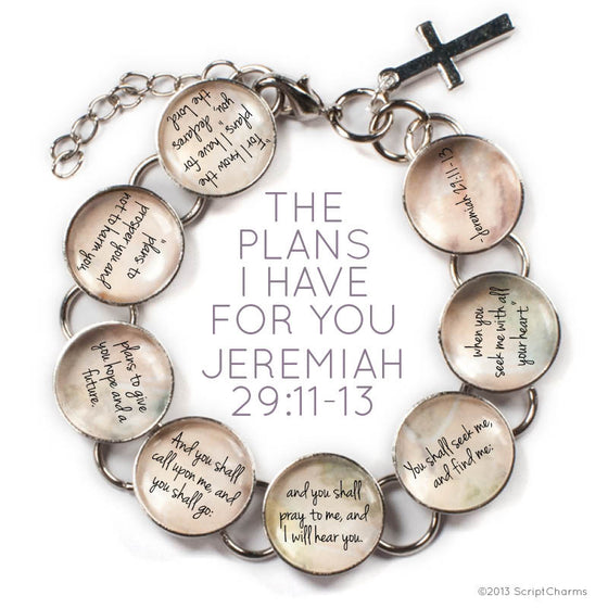 The Plans I Have For You Scripture - Jeremiah 29:11-13 Glass Charm Bible Verse Bracelet