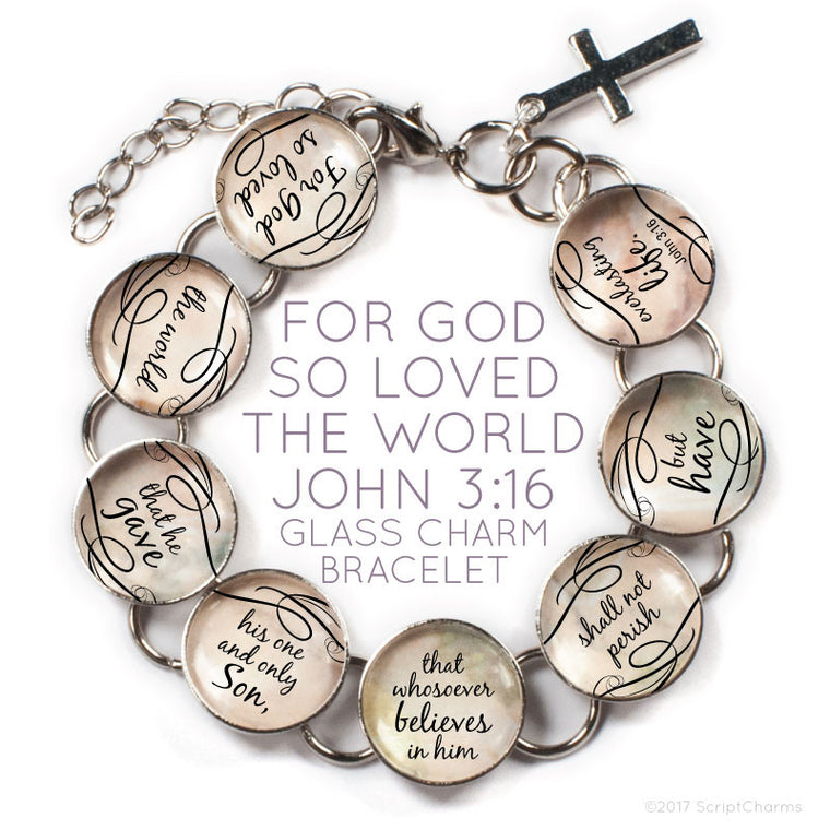 For God So Loved the World, John 3:16 Christian Glass Charm Bracelet