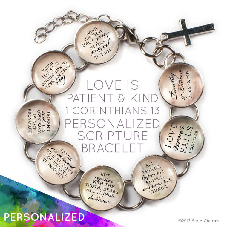 Love is Patient and Kind - Personalized Love & Marriage Glass Charm Bracelet