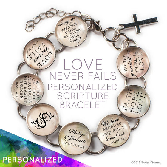 Love Never Fails - Personalized Love & Marriage Glass Charm Bracelet