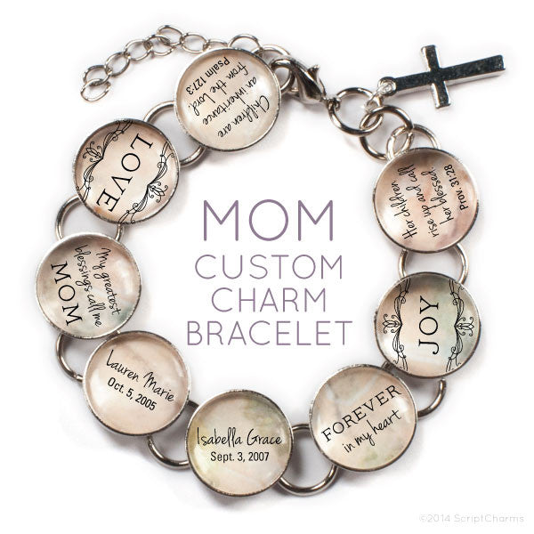 Mom/Mothers Custom Personalized Glass Charm Bracelet
