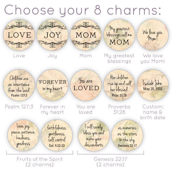 Mom/Mothers Custom Personalized Glass Charm options
