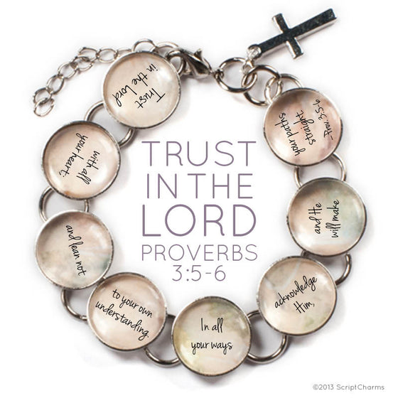 Trust In The Lord Scripture - Proverbs 3:5-6 Glass Charm Bible Verse Bracelet