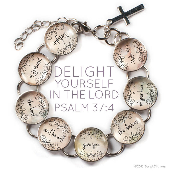 Delight Yourself in the Lord Scripture - Psalm 37:4 Glass Charm Bible Verse Bracelet