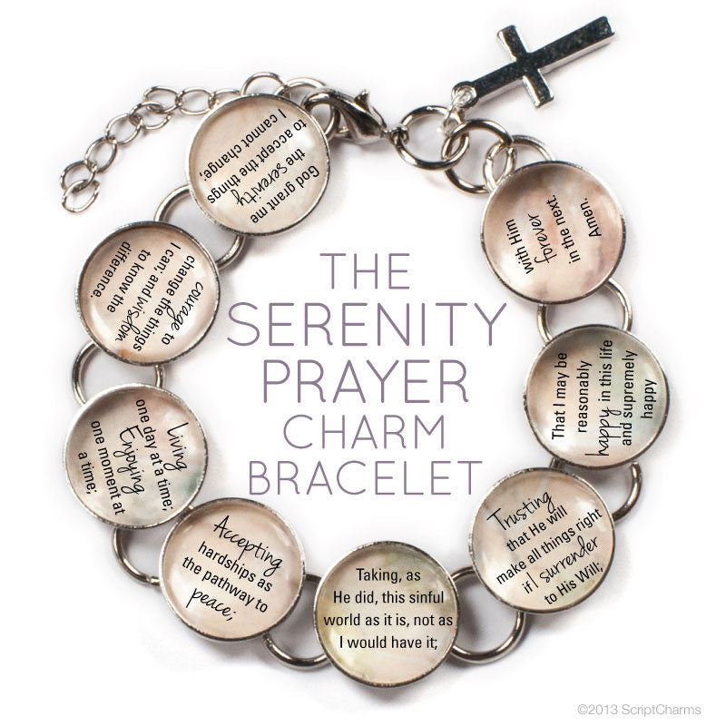 ScriptCharms Serenity Prayer Glass Charm Bracelet