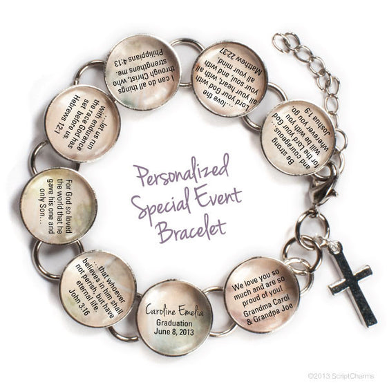 Personalized Special Event Bible Verse Charm Bracelet
