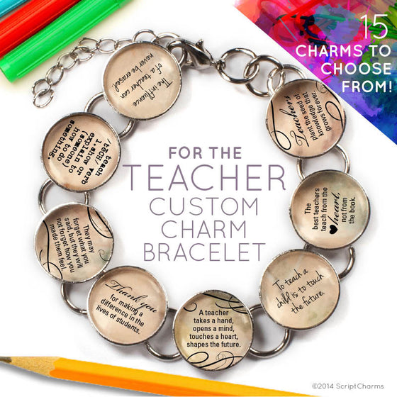 For The Teacher - Custom Glass Charm Bracelet with Apple Charm