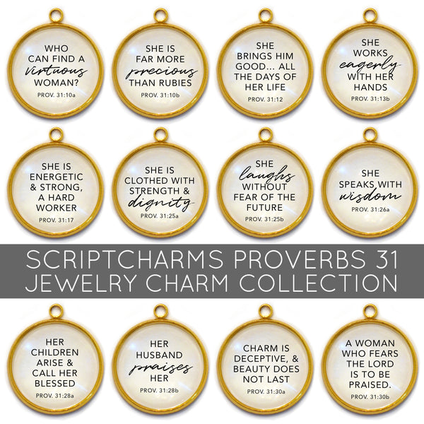 Proverbs 31 Woman - Set of 12 Scripture Charms for Jewelry Making, 16 or 20mm, Gold